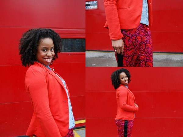 What I Wore: Narciso Rodriguez for Kohls DesigNation Paisley Charmeuse Pants, Forever 21 Orange Blazer and Chambray Shirt