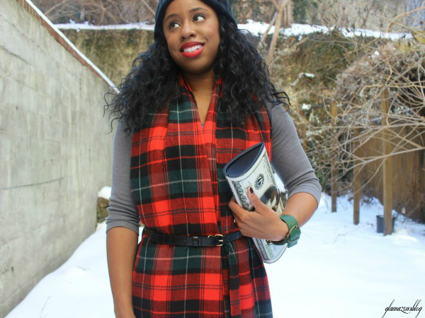 street-style-snow-belt-wrapped-around-scarf-plaid-scarf-patricia-field-money-clutch-beanie-hat-just-fab-zyree-glamazons-blog-edit