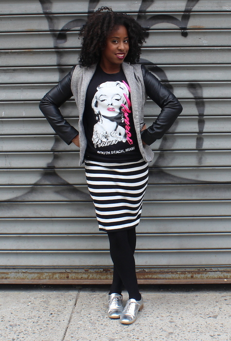 street-style-zara-blazer-leather-sleeves-forever-21-striped-skirt-just-fab-avalene-silver-oxfords-17